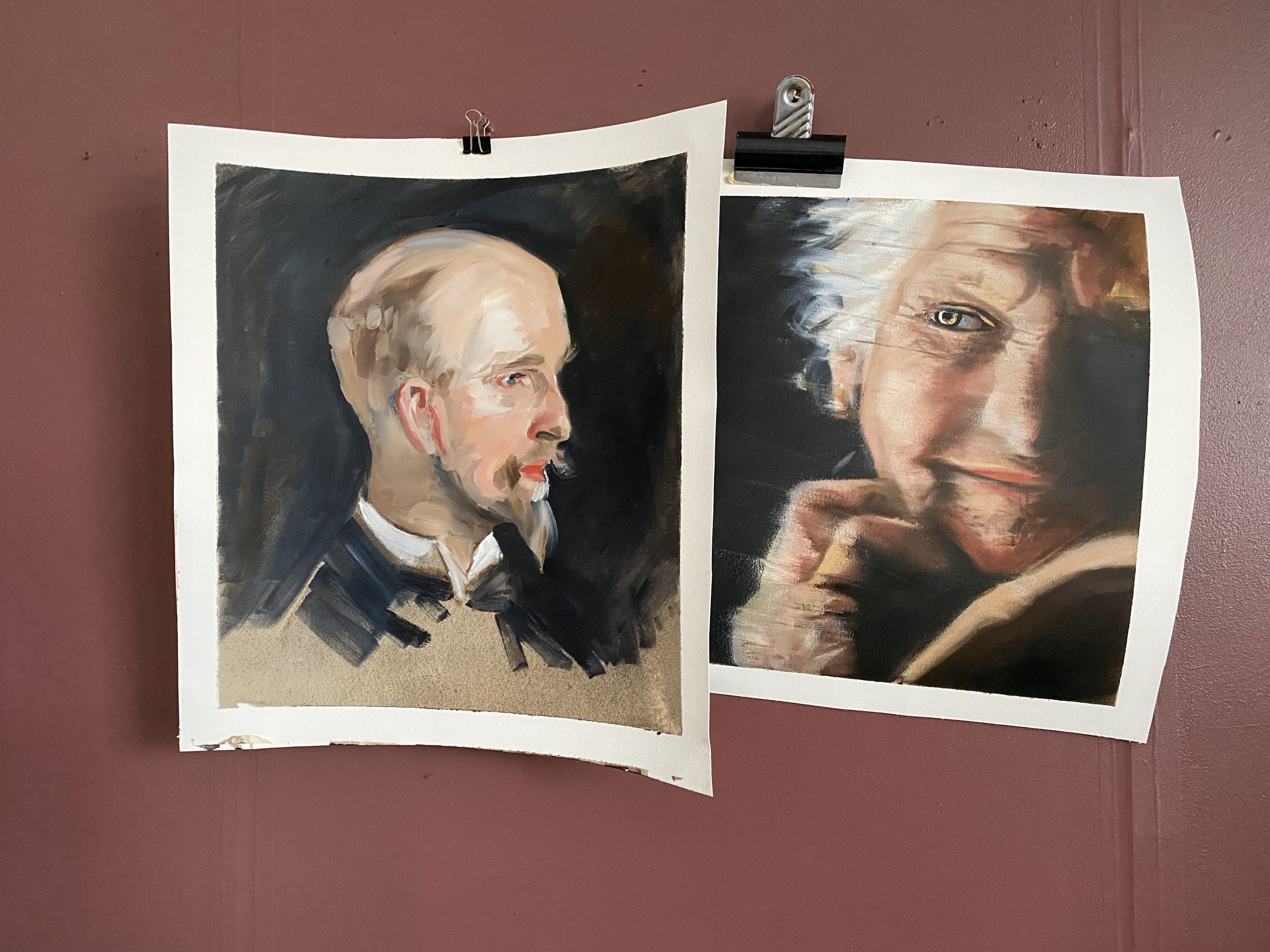 Portraits in oil on paper